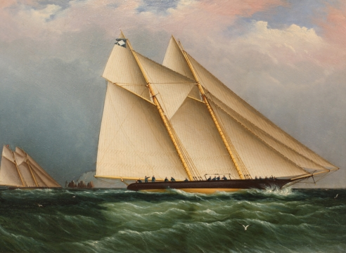 Schooner racing off the Needles by James E. Buttersworth