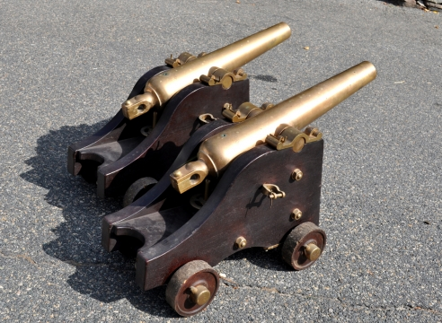 Pair of Brass Signal Cannons signed Gregory Cannon Street NY