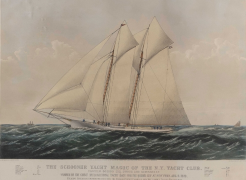 """Currier and Ives Hand Colored Lithograph """"The Schooner Yacht Magic of the New York Yacht Club dated 1870,"""