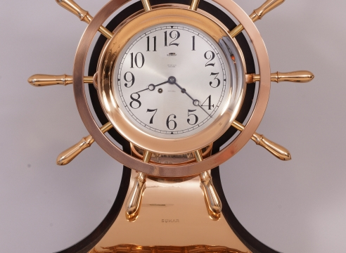 "Rare 8 1/2 Inch Chelsea Yacht Wheel Clock from the Yacht ""SUMAR"""