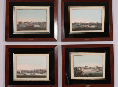 Four Exceptional Chinese Export Watercolor Port Scenes by Youqua
