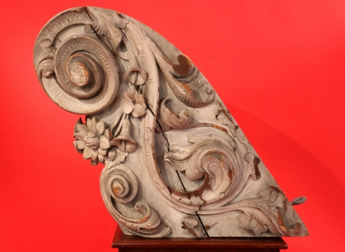 Billethead with Carved Vine and Leaf Pattern Attributed to the Skillon Shop Boston