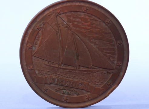 Three Brass Yacht America Commemorative Coin circa 1987