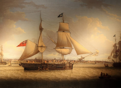 A 16-Gun Brig in Two Positions on the Mersey by Robert Salmon