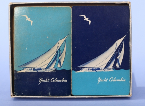 Boxed Pair of Yacht Columbia Playing cards 1958