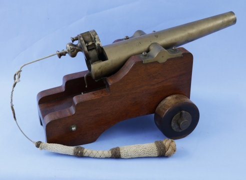 """Brass 8GA Cannon, signed on top of breech """"The Strong Fire Arms -00- New Haven CONN, U.S.A."""