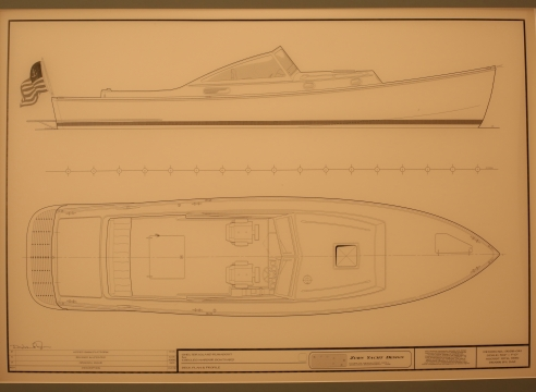 Line Drawing of Shelter Island Runabout signed Doug Zern