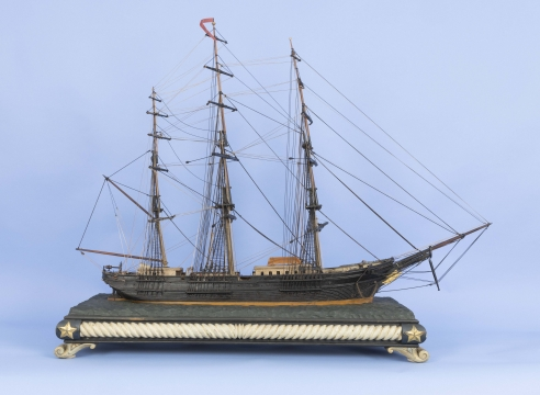Unknown, Carved and Painted Folk Art Waterline Three Masted Ship Model with Carved Base, American Circa 1880, Circa 1880