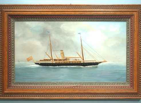 Silk-work Picture of the SY Sylvia by CH Burkert