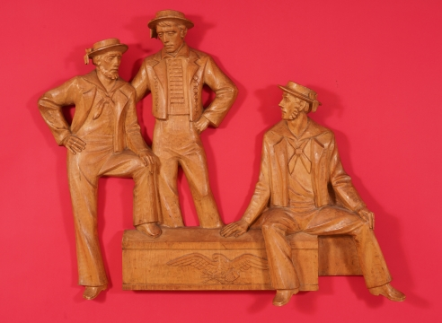 Carved Maple Figure Carving Depicting Three Sailors signed Aldai S. Hardin circa 1962