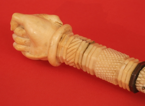 Exceptional Scrimshaw Cane with Fist Crushing Serpent Grip