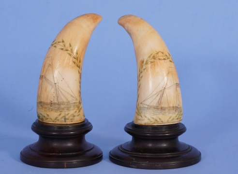 PAIR OF POLYCHROME SCRIMSHAW WHALE'S TEETH DEPICTING SAILING YACHTS
