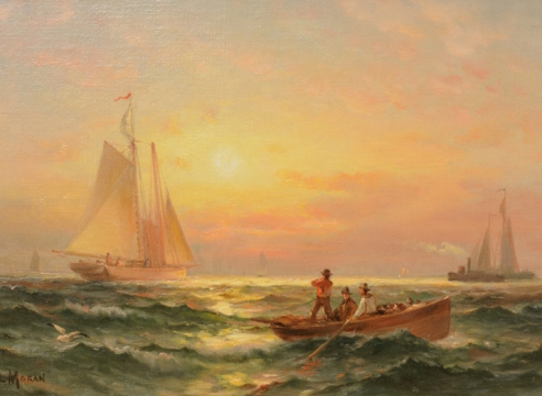 Shipping at Sunset by Edward Moran