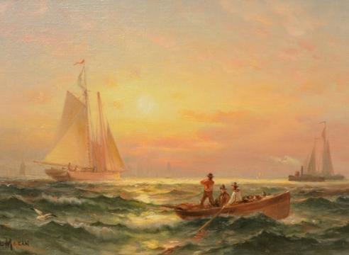 Shipping at Sunset by Edward Moran