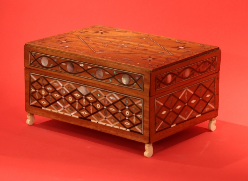 Outstanding Inlaid Sewing Box with fitted Interior with Removable Tray