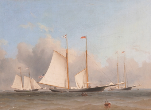 The Three Yachts Having Arrived in Cowes Fallowing the Great Ocean Race of 1866