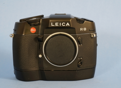 Leica Black Body R8 35 mm Film Camera Body #2416217 with Leica Moter Winder#0769B