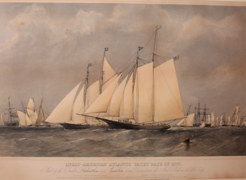 "Colored Lithograph Titled ""Anglo-American Atlantic Yacht Race of 1870"