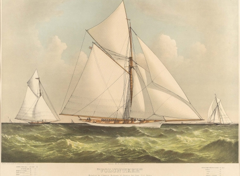 """CURRIER & IVES HAND-COLORED LITHOGRAPH OF THE 1887 AMERICA'S CUP DEFENDER """"VOLUNTEER"""""""