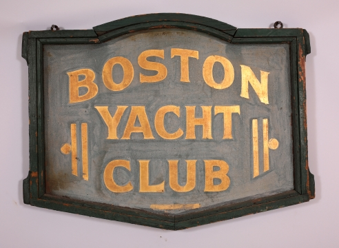 """Painted and Gilded Double-Sided Sign from The """"BOSTON YACHT CLUB"""""""