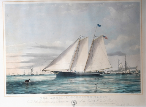 "Colored Lithograph titled ""The American Schooner Yacht"" after AW Brierly"