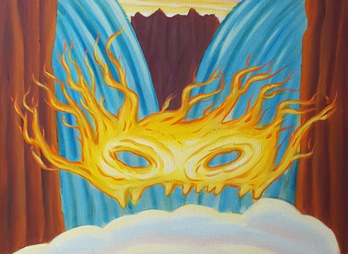 David Sandlin, detail of oil painting showing eye-mask of flames