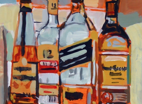 walter robinson liquor bottles on shelf, acrylic on paper