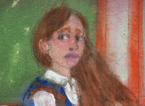 danny licul, detail of painting of young girl in school classroom