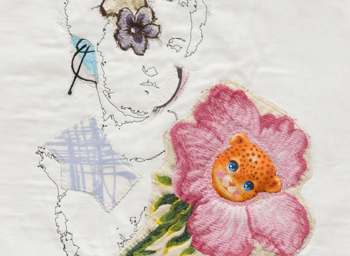 China Marks Flower Boy fabric collage