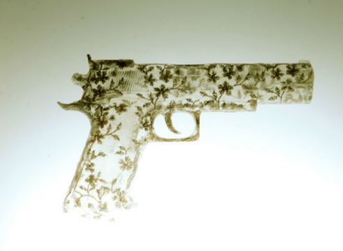 Nikki Luna, handgun made of lace set in resin cast