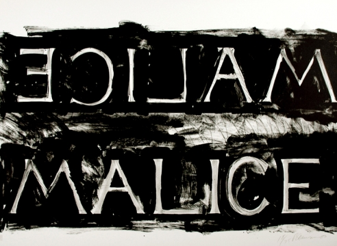 Bruce Nauman print, text reads malice backwards and forwards