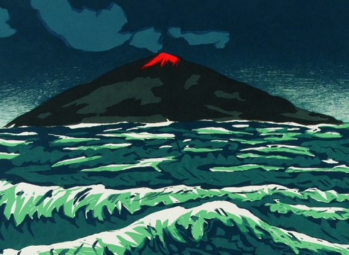 Richard Bosman, Volcano woodcut detail