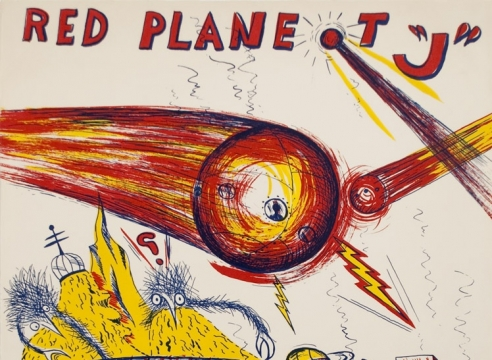 Ken Price detail, spaceships flying over red planet J