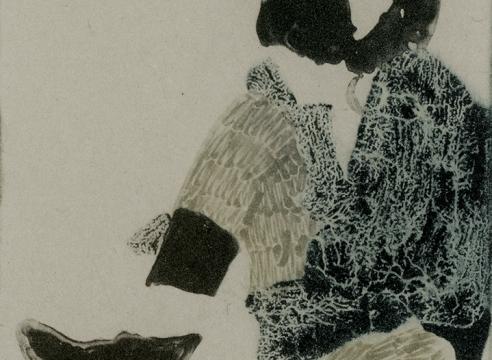 Elin Rodseth photopolymer print on paper, faceless girl