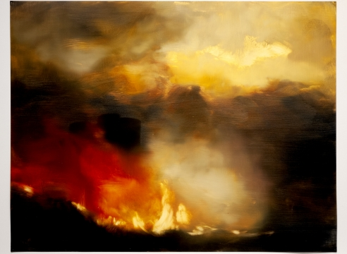 karen marston, detail of forest fire at night painting