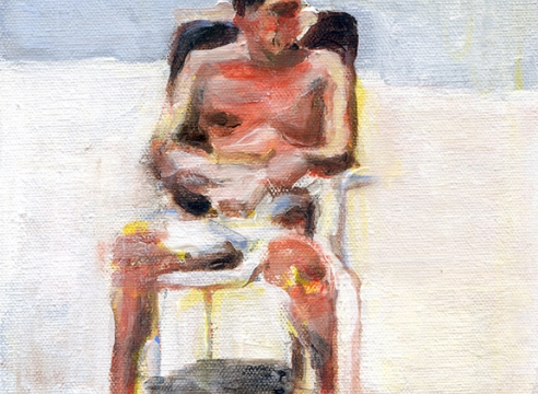 Mark Mann, painting of a man on beach chair