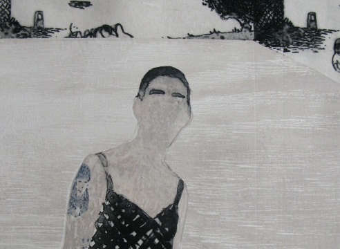 elin rodseth, detail of a faceless stranger in bathing suit, print on paper