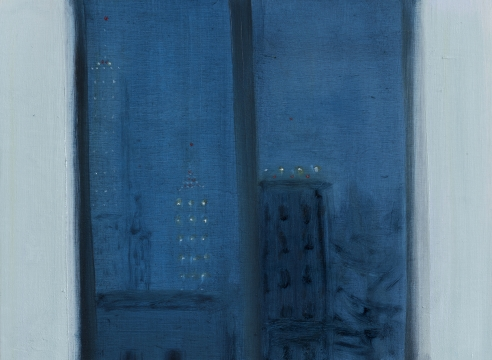 Brooklyn Out the Window oil on board presently at The Drawing Room Gallery, Easthampton