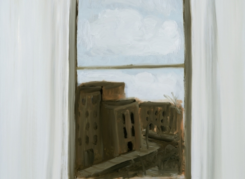 Winter out the Window, oil on board, available via The Drawing Room Gallery Easthampton