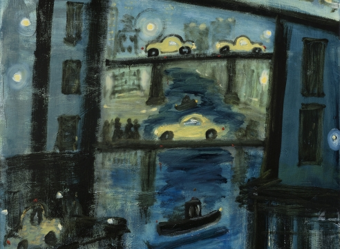Cars, Ftrain and walkers over the Gowanus Canal, oil on canvas