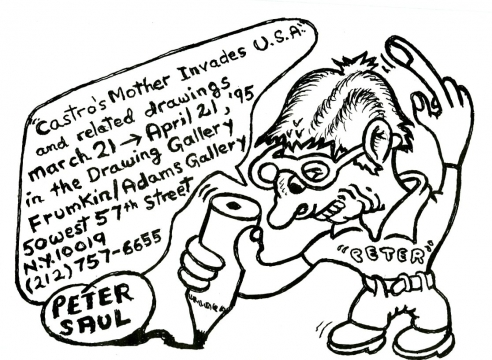"""Peter Saul: """"Castro's Mother Destroys Miami"""" and related drawings (Drawing Gallery)"""