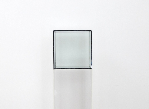 "Alt=""Larry Bell, Untitled, 1968, Glass cube with metal seams"""