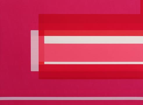 "Alt=""Kate Shepherd, Pink Slippers, Studio Lights, 2017, Enamel on panel"""
