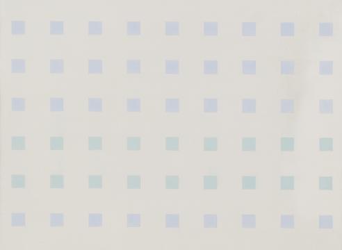 Antonio Calderara painting blue and green squares on white background, geometric art, Verde Azurro Costellazione 1972