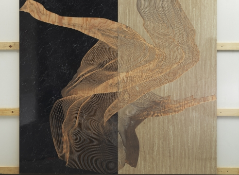 "Alt=""Michael DeLucia, The Motion of the Ocean, 2014, High pressure laminate on plywood"""