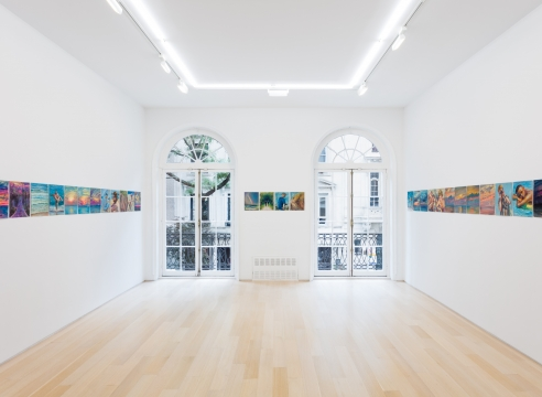 Installation view of gouache and pastel drawings by TM Davy