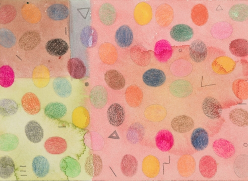 Alan Shields abstract drawing in pastel colors