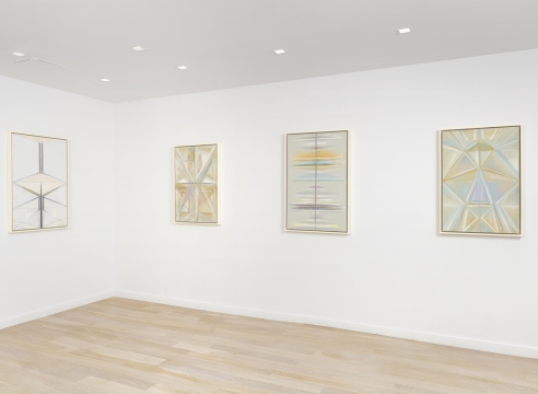 installation view with 4 geometric abstract paintings