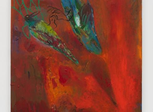 an orange painting of a bird