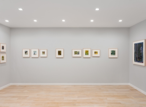 Installation view of Tom Fairs colored drawings of landscapes